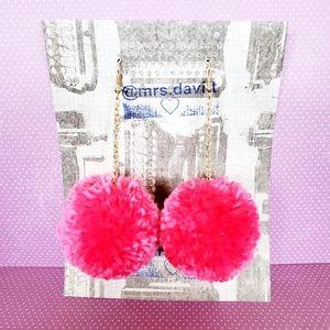 Pink / fuchsia Pink Pom Pom Earrings  Boho